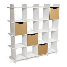 Modern 16 Cubby Storage Shelves by Sprout work with Sprout's compatible cubby bins to give your kids maximum storage space!
