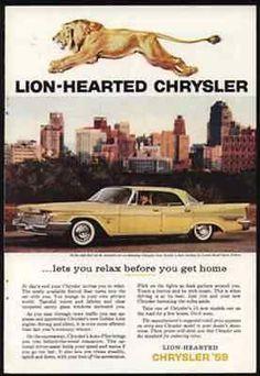 Roaring Golden Lion Lion-Hearted 1959 Chrysler New Yorker 4 door Hardtop AD