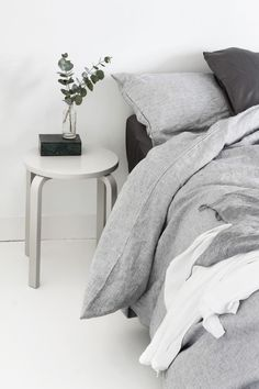 White + grey bedroom | @styleminimalism