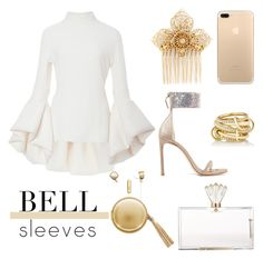 """BELL SLEEVES"" by nicolevalents ❤ liked on Polyvore featuring Brandon Maxwell, Charlotte Olympia, Stuart Weitzman, Miriam Haskell, The Macbeth Collection and SPINELLI KILCOLLIN"