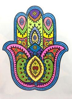 Hamsa Hand Tattoo, Hamsa Art, Mandala Artwork, Mandala Painting, Hamsa Design, Mandala Design, Arabic Art, Jewish Art, Hippie Art