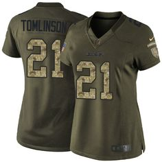$24.99 Women's Nike Los Angeles Chargers #21 LaDainian Tomlinson Elite Green Salute to Service NFL Jersey