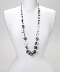 Another great find on #zulily! Turquoise & Silver Beaded Cross Necklace by Treska #zulilyfinds