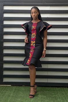 African woman dress black dress formal dress midi dress Made and shipped from Houston Texas. Other colors and fabric available African Fashion Ankara, Latest African Fashion Dresses, African Inspired Fashion, African Print Fashion, Dress Fashion, Short African Dresses, African Print Dresses, Ankara Gowns, African Prints