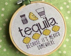 Cross Stitch Pattern - PDF - Tequila - because it's mexico somewhere - lemon - salt - shots - Nerdy - Booze - Subversive - Naughty - Fun