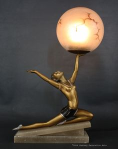 Art Deco metal and glass lamp Germany 1930s - 20th Century Decorative Arts