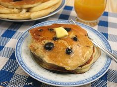 Delicious pancakes with blueberries Found at Kasselfood.com