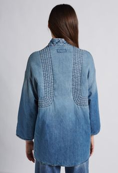 The kimono car coat - Car Recommendation For Womans Cropped Denim Jacket, Denim Coat, Kimono Jacket, Ripped Denim, Kimono Cardigan, Womens Fashion Online, Latest Fashion For Women, Coats For Women, Clothes For Women