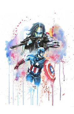 Captain America and the Winter Soldier Watercolor by SplatterGeek