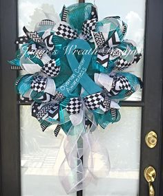 Ovarian Cancer Awareness Wreath by Jayne's Wreath Designs on fb and Instagram