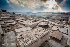 Here you see the Western slope of the Mount of Olives covered by thousands of Jewish graves facing toward the Temple Mount and the Eastern Gate of the old city of Jerusalem. The valley between is the Kidron Valley. This slope of the Mount of Olives has been used as a Jewish cemetery for over 3,000 years and holds approximately 150,000 graves.