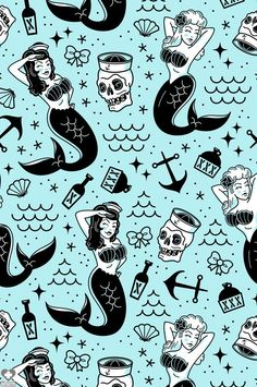 SOURPUSS | Shower Curtain | Mermaids Beserk