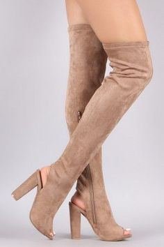 ba82b738272423 Bamboo Stretchy Fitted Over-The-Knee Open Back Suede Boots. Ballet ShoesDance  ...