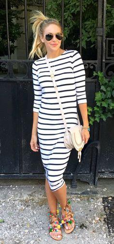White Striped Dress & White Leather Shoulder Bag
