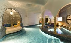 This beachfront home in Cabo San Lucas, Mexico has a unique grotto spa inspired by a Turkish bath underneath its outdoor infinity-edge swimming pool. Swim Up Bar, Villa, Indoor Swimming Pools, Lap Pools, Backyard Pools, Pool Decks, Pool Landscaping, Luxury Pools, My Pool