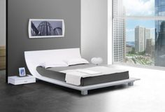Story White Queen Size Sleigh Design Platform Bed With Two Night Stands