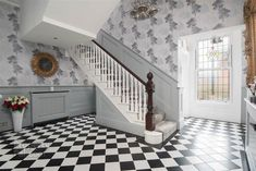 grey hallway with black and white tiled floor Grey Hallway, Windsor Park, Hallway Lighting, Belfast, Hallways, Property For Sale, Stairs, Flooring, Black And White