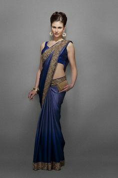 Midnight blue shaded wrinkle satin sari with gold kundan border Ethnic Fashion, Asian Fashion, Women's Fashion, Ladies Fashion, Indian Dresses, Indian Outfits, Indian Clothes, Indian Attire, Indian Wear