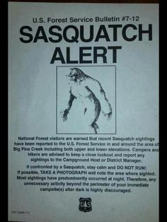 forest service  | Forest Service Bigfoot Warning Poster !