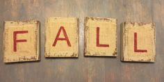 Fall wooden rustic blocks by TheDistrictDigs on Etsy
