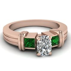 Save $5,363.23 on .85 Ct Cushion Cut Diamond & Enticing Green Emerald Engagement Ring FLAWLESS 14K; only $3,830.88