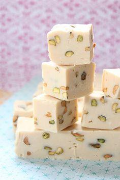 FUDGE: Irish Cream and Pistachio Fudge - no thermometer needed (white chocolate, condensed milk, irish cream, pistachios)