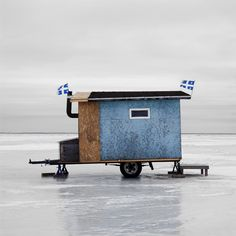 Photographer Richard Johnson documented ice fishing huts in Canada.