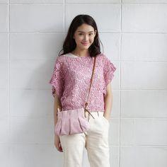Short Sleev Over Size Tops Lace Cotton Soi-Fah Pink Color-www.tanbagshop.com