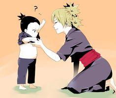 temari and shikadai - so cute: look at hish wittle belly!!! ^o^