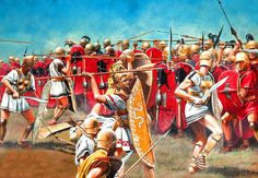 battle of Sentinum. An illustration showing Samnite warriors engaging Roman republican legionaries in combat. the opposing sides are evenly matched. the artist has attempted to show the different styles of formation that either side employed. The Samnites fighting in open order and the Roman's tightly packed manipular formation.