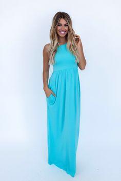 Solid Racer Back Maxi Dress- Mint - Dottie Couture Boutique