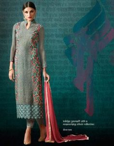 Buy grey embroidered georgette suit with dupatta...