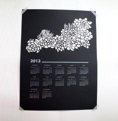 2013 Wall Calendar: Succulent Paper Cut Poster. $40.00, via Etsy.