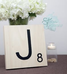 Super easy GIANT SCRABBLE TILE tutorial! Perfect as 'table numbers' bride and groom chair initials, wall hangings, cake table decor... etc!