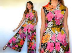 Vintage 60s Palazzo Jumpsuit | Colorful Floral Print Romper