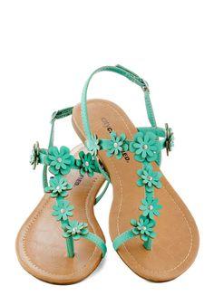 Garden Garland Sandal in Turquoise - Blue, Flower, Beach/Resort, Fairytale, Summer, Flat, Faux Leather
