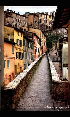 Ancient path in Perugia - Umbria, Italy