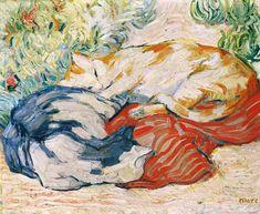 Katzen auf rotem Tuch.  - Franz Marc