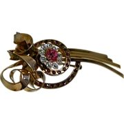 Lovely Gold Tone Brooch with Clear and Pink Rhinestones, 1930's - 1940's