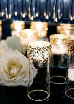gold wedding candle light ideas