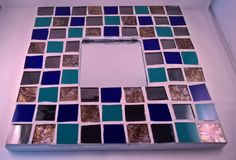 Cobalt Teal Silver and Amber Mosaic Mirror by LailiBugStudio