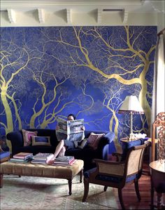 gold trees mural on blue walls (Love this, gives me an idea for hall)