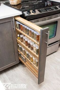 Slim pull out spice rack