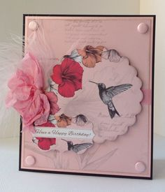 Card designed by Emma Williams using Paradise collection. Hobbies And Crafts, Arts And Crafts, Paper Crafts, Butterfly Cards, Flower Cards, Craftwork Cards, Cardmaking, Projects To Try, Happy Birthday