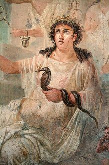 Isis, the Great Mother Goddess, a serpent goddess. Roman fresco (detail) from the temple of Isis in Pompeii. Museo Archeologico Nazionale (Naples)