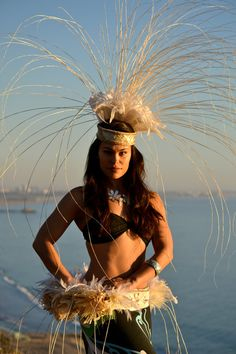 White feather matching hip belt and head piece by ISLANDMANA, $350.00