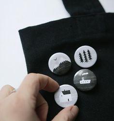 black & white badges. set of 4 by nastiasleptsova on Etsy