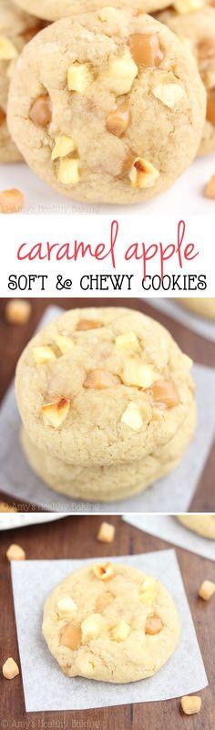 Healthier Caramel Apple Cookies -- so chewy & even better than regular caramel apples! Barely 100 calories! | Dessert Recipe
