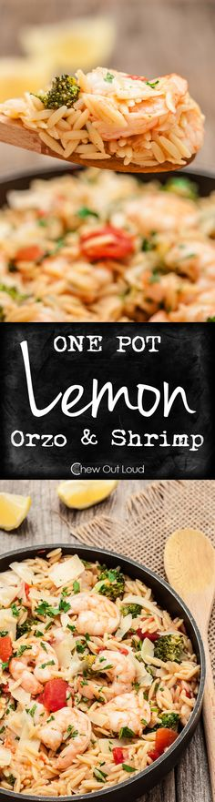 One Pot Lemon Orzo with Shrimp - It takes just 30 minutes and one pot.  Succulent, flavorful, tender, and healthy! #dinner #recipe