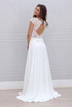 keyhole back embroidered cap sleeve ivory illusion a line long vintage chiffon wedding dress